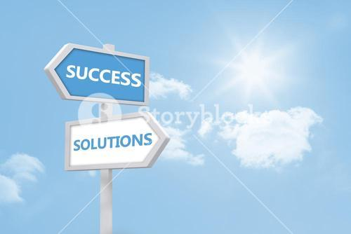 Success and solutions road sign