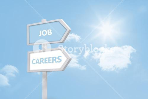 Job and careers road sign