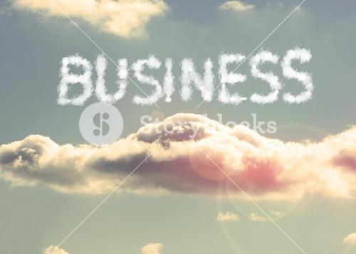 Clouds spelling out business