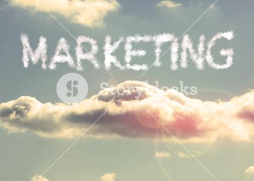 Clouds spelling out marketing