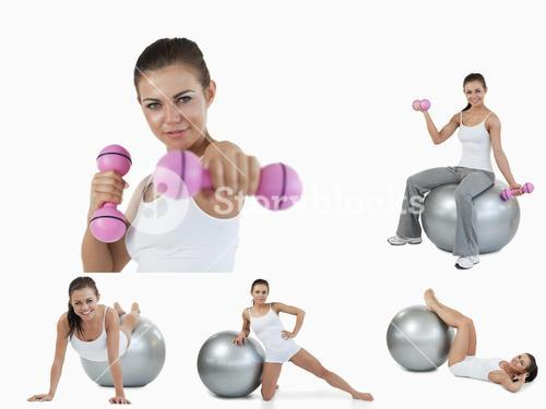 Collage of young woman doing aerobics