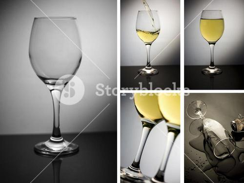 Collage of wine glass