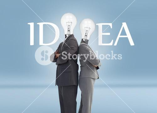 Business people with light bulb heads and idea text