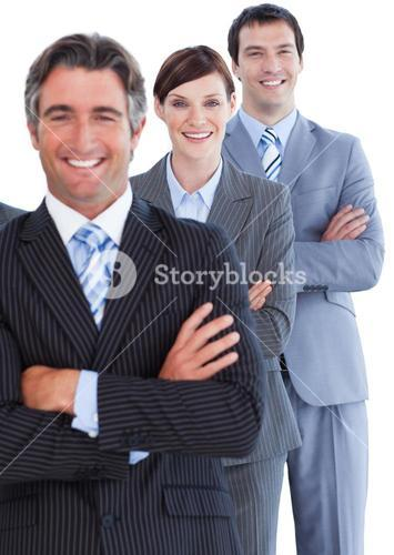 Portrait of assertive business team