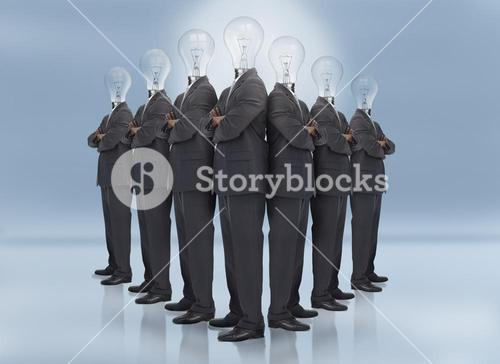 Businessman with bulb head multiplied