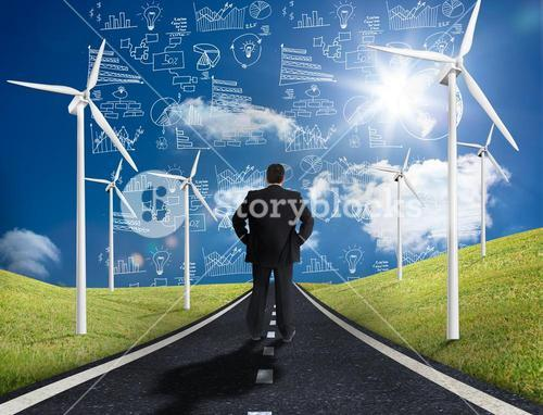 Businessman standing in middle of road looking at graphs on the horizon