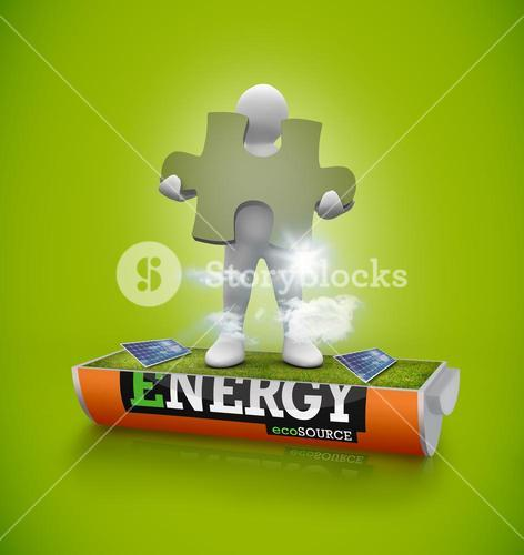 White figure holding jigsaw piece in a solar field in an energy saving battery