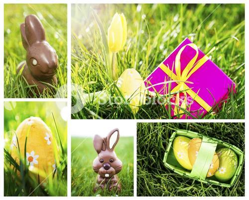 Collage of easter chocolate