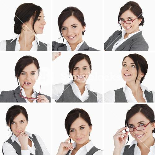 Collage of brunette businesswoman