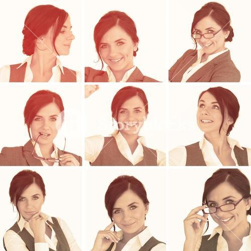 Collage of brunette businesswoman in sepia