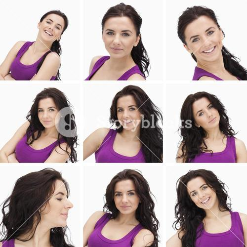 Collage of woman with curly hair