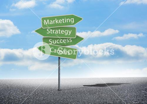 Illustration of signposts with marketing terms