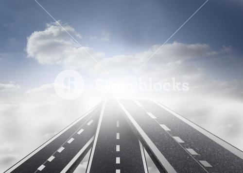 Illustration of road leading out to the horizon
