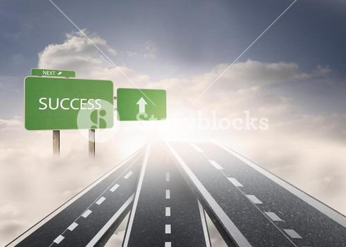 Signposts showing the road to success