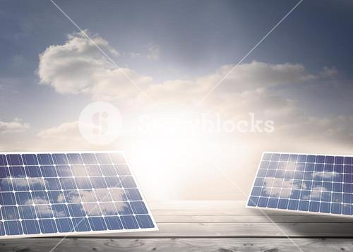 Solar panels on floorboards in the sky