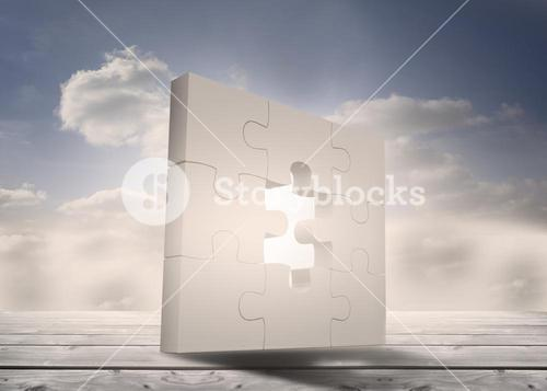 Jigsaw puzzle unfinished standing on floorboards in the sky
