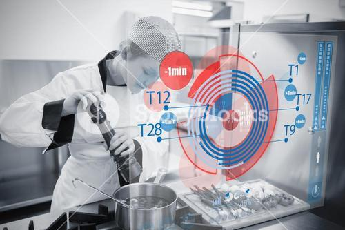 Chef cooking with futuristic interface