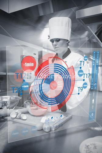 Pastry chef making dough while consulting futuristic interface in black and white