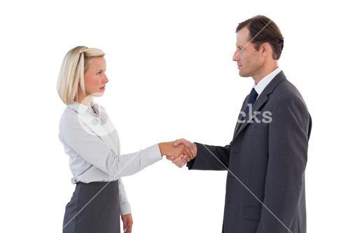 Serious business people shaking hands