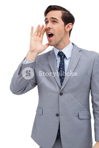 Young businessman yelling