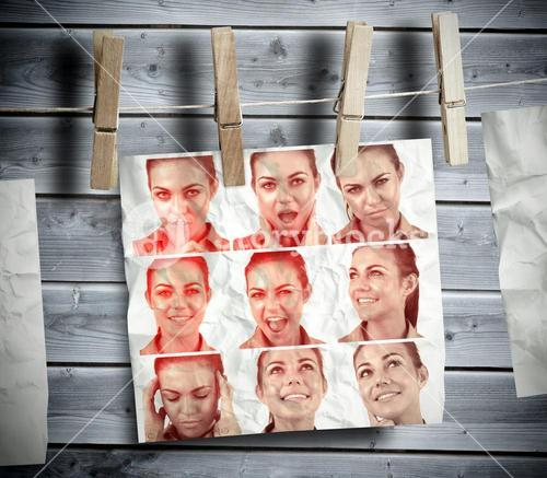 Pegs hanging pictures showing woman gesturing