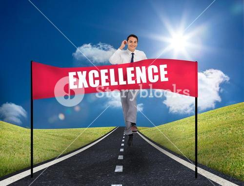 Businessman reaching a banner with excellence written on it