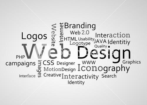 Group of web design terms