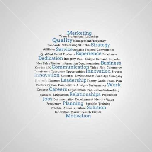 Group of blue marketing terms