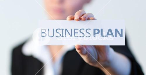 Businesswoman holding a label with business plan written on it