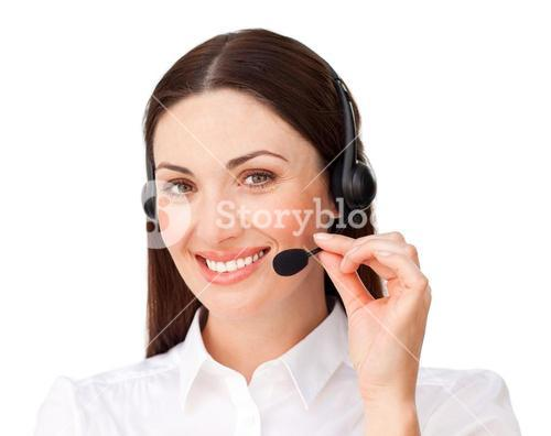 Young businesswoman with headset on