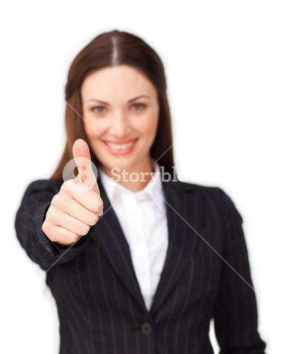 Attractive businesswoman with thumb up