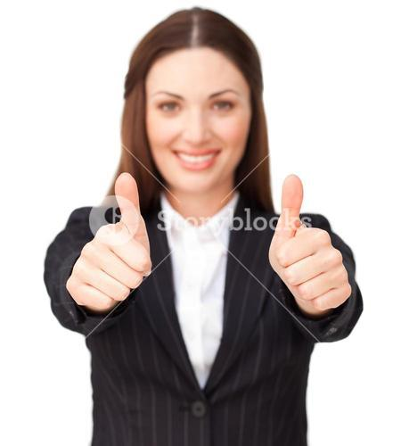 Young businesswoman with thumbs up