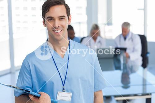Young doctor holding a file