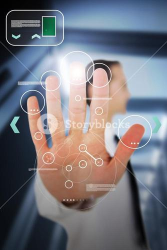 Businessman using his hand for a entry authorization