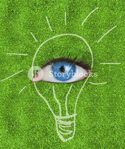 Blue eye surrounded by a drawing of a light bulb