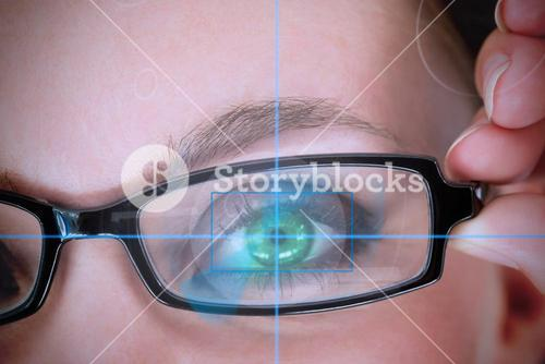 Woman with green eyes analyzing something