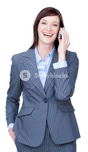 Laughing businesswoman on phone