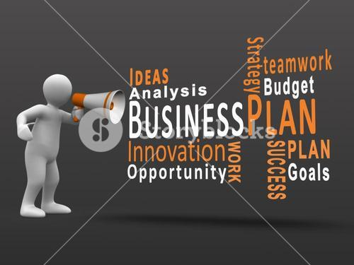 White figure revealing business terms with a megaphone