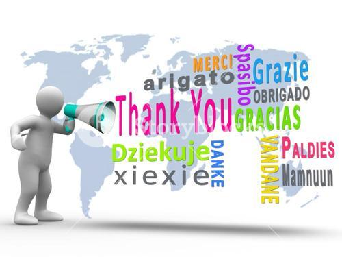 White figure revealing thank you in different languages with a megaphone