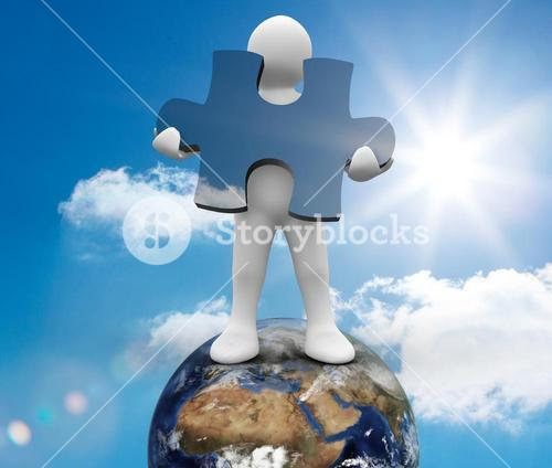 White human representation standing on earth