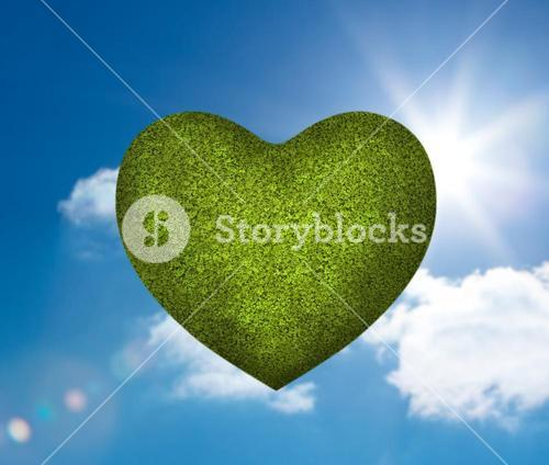 Green heart in the sky