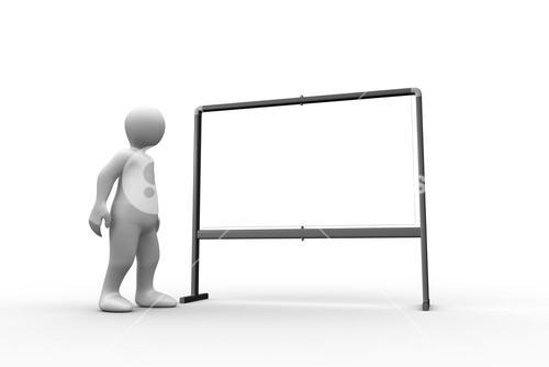 Standing white figure pointing to whiteboard