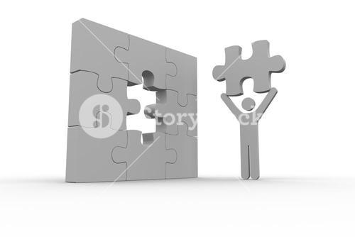 White human representation holding the missing jigsaw piece