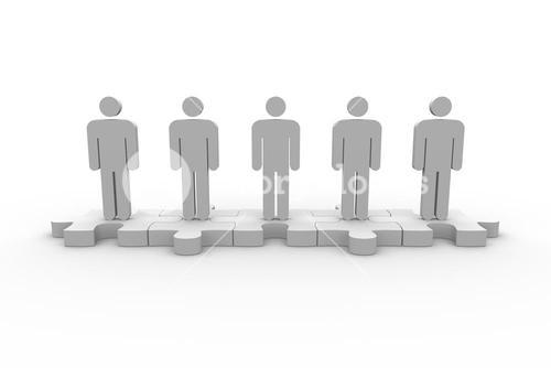 Meshed jigsaw pieces with human forms standing in line