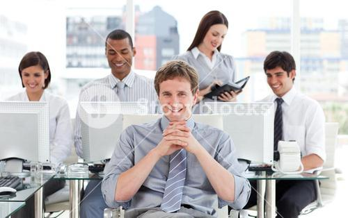 Presentation of ambitious business team at work