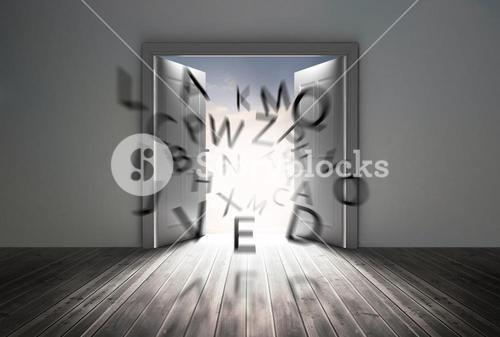 Doors opening to show flying letters