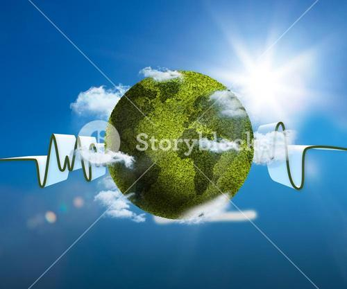 Green and white waveform with green textured earth