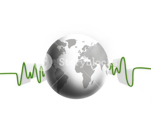 Green and white waveform with white earth