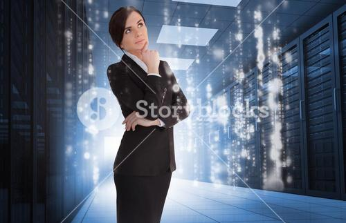 Businesswoman contemplating in data center