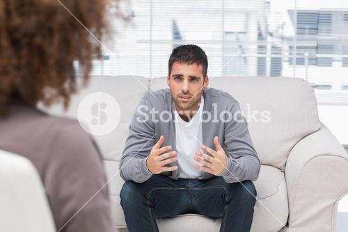 Man telling therapist his problems